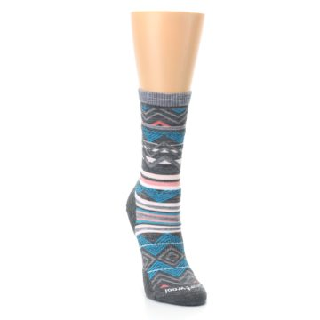 Image of Gray Blue Ripple Creek Wool Women's Casual Socks (side-1-front-03)