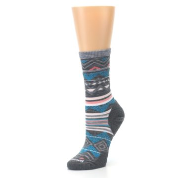 Image of Gray Blue Ripple Creek Wool Women's Casual Socks (side-2-09)