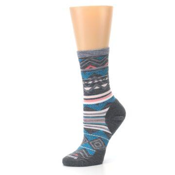 Image of Gray Blue Ripple Creek Wool Women's Casual Socks (side-2-10)