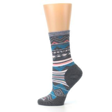 Image of Gray Blue Ripple Creek Wool Women's Casual Socks (side-2-12)