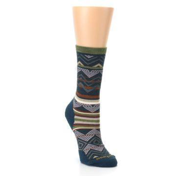 Image of Blue Green Ripple Creek Wool Women's Casual Socks (side-1-front-02)