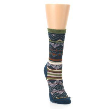 Image of Blue Green Ripple Creek Wool Women's Casual Socks (side-1-front-03)
