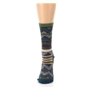 Image of Blue Green Ripple Creek Wool Women's Casual Socks (side-2-front-06)