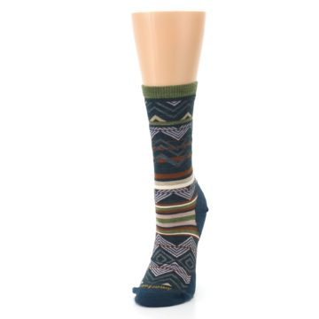 Image of Blue Green Ripple Creek Wool Women's Casual Socks (side-2-front-07)