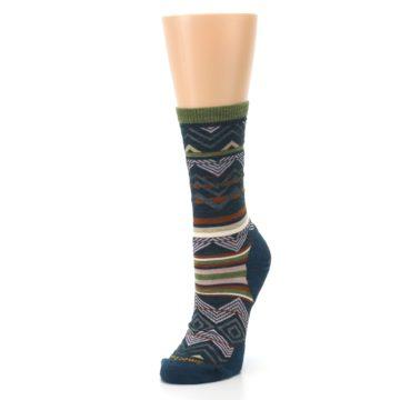 Image of Blue Green Ripple Creek Wool Women's Casual Socks (side-2-front-08)