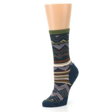 Image of Blue Green Ripple Creek Wool Women's Casual Socks (side-2-09)