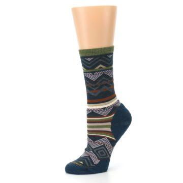 Image of Blue Green Ripple Creek Wool Women's Casual Socks (side-2-10)
