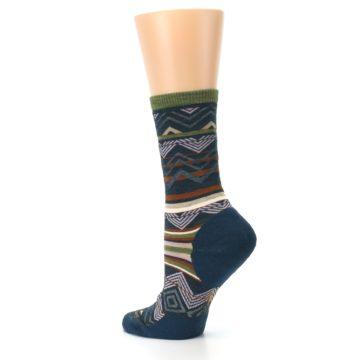 Image of Blue Green Ripple Creek Wool Women's Casual Socks (side-2-back-14)