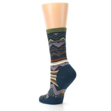 Image of Blue Green Ripple Creek Wool Women's Casual Socks (side-2-back-15)