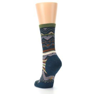 Image of Blue Green Ripple Creek Wool Women's Casual Socks (side-2-back-16)