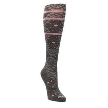 Image of Taupe Pink Pompeii Dots Wool Women's Knee High Socks (side-1-front-02)