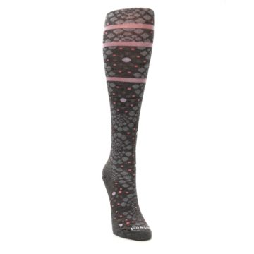 Image of Taupe Pink Pompeii Dots Wool Women's Knee High Socks (side-1-front-03)