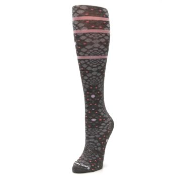 Image of Taupe Pink Pompeii Dots Wool Women's Knee High Socks (side-2-front-08)
