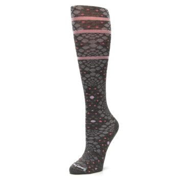 Image of Taupe Pink Pompeii Dots Wool Women's Knee High Socks (side-2-09)