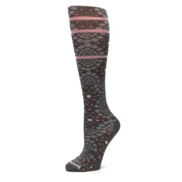 Image of Taupe Pink Pompeii Dots Wool Women's Knee High Socks (side-2-10)