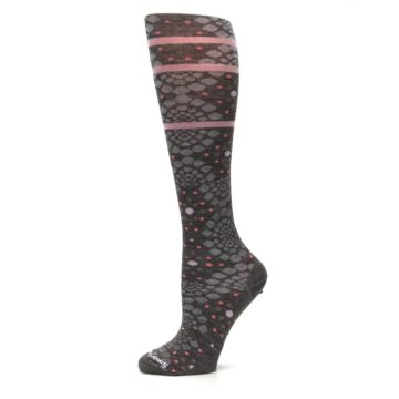Image of Taupe Pink Pompeii Dots Wool Women's Knee High Socks (side-2-11)