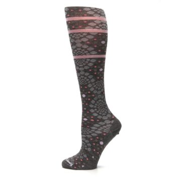 Image of Taupe Pink Pompeii Dots Wool Women's Knee High Socks (side-2-12)