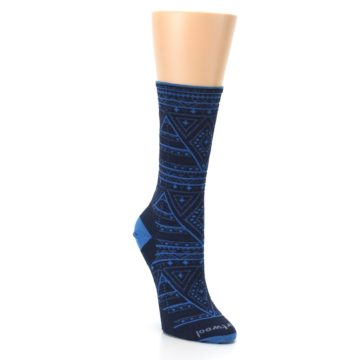 Image of Navy Blue Wenona Triangles Wool Women's Casual Socks (side-1-front-02)