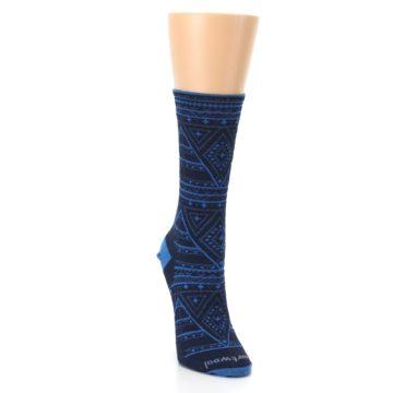 Image of Navy Blue Wenona Triangles Wool Women's Casual Socks (side-1-front-03)