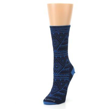 Image of Navy Blue Wenona Triangles Wool Women's Casual Socks (side-2-front-08)