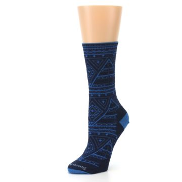 Image of Navy Blue Wenona Triangles Wool Women's Casual Socks (side-2-09)