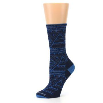 Image of Navy Blue Wenona Triangles Wool Women's Casual Socks (side-2-10)
