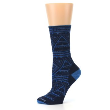 Image of Navy Blue Wenona Triangles Wool Women's Casual Socks (side-2-11)