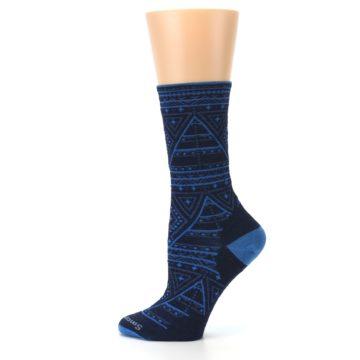Image of Navy Blue Wenona Triangles Wool Women's Casual Socks (side-2-12)