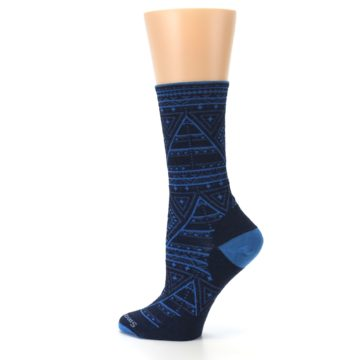 Image of Navy Blue Wenona Triangles Wool Women's Casual Socks (side-2-13)
