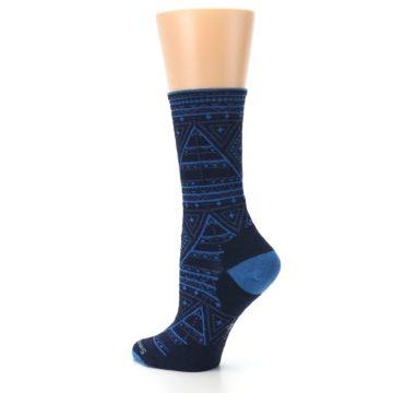 Image of Navy Blue Wenona Triangles Wool Women's Casual Socks (side-2-back-14)