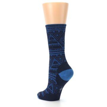 Image of Navy Blue Wenona Triangles Wool Women's Casual Socks (side-2-back-15)
