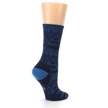 Image of Navy Blue Wenona Triangles Wool Women's Casual Socks (side-1-23)