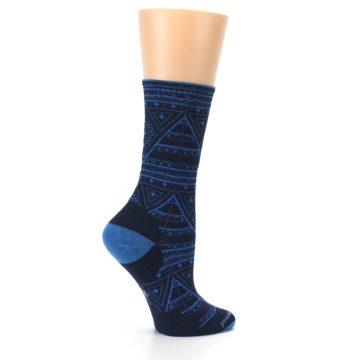 Image of Navy Blue Wenona Triangles Wool Women's Casual Socks (side-1-24)