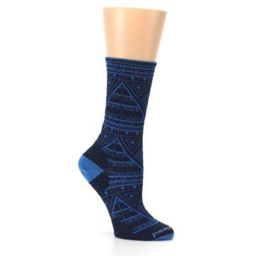 Image of Navy Blue Wenona Triangles Wool Women's Casual Socks (side-1-26)