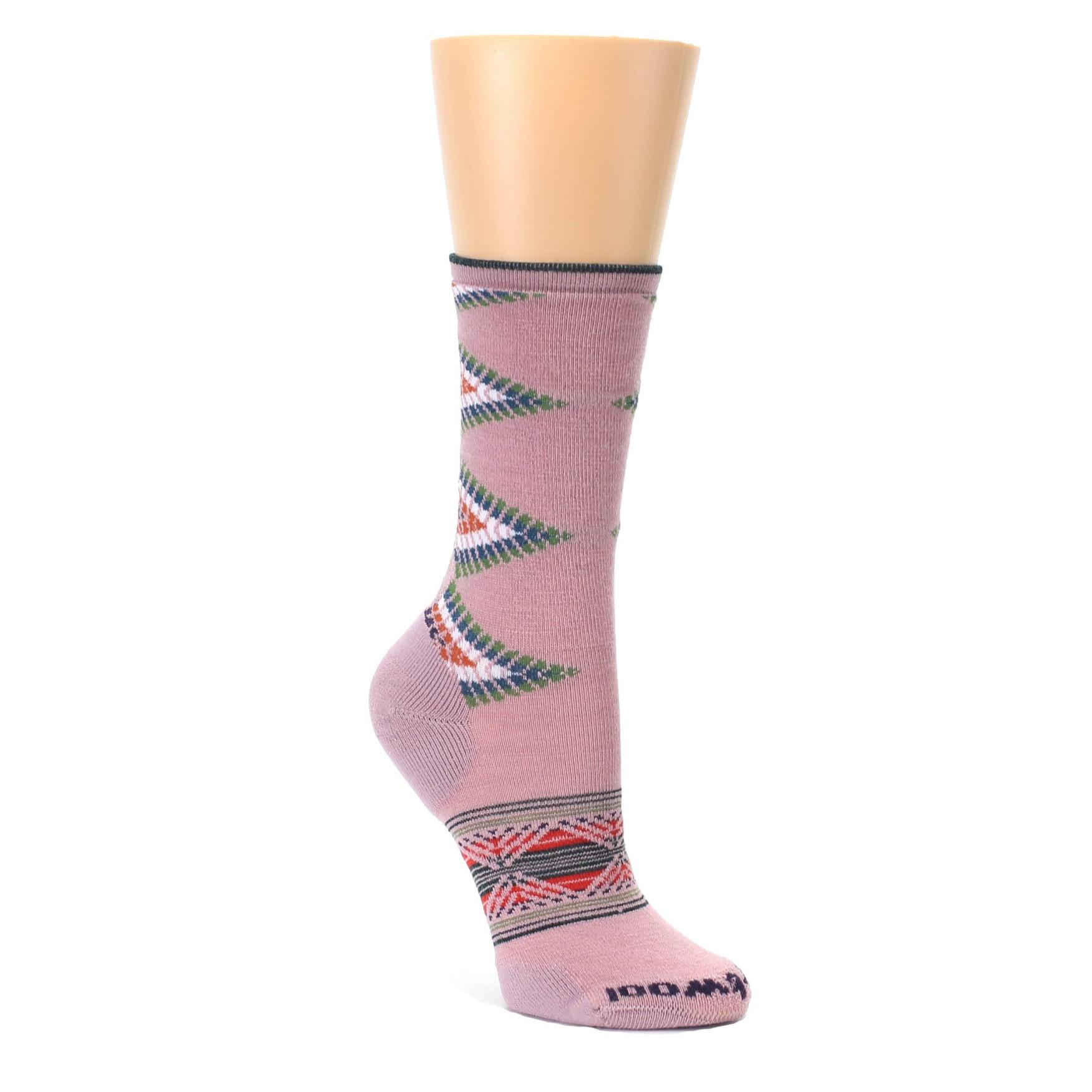 Woodrose Pink Tiva Arrows Wool Socks - Women's Casual Socks | boldSOCKS