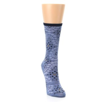 Image of Blue Navy Pompeii Dots Wool Women's Casual Socks (side-1-front-03)