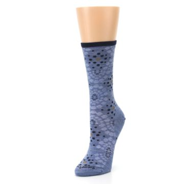 Image of Blue Navy Pompeii Dots Wool Women's Casual Socks (side-2-front-08)