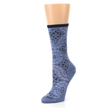 Image of Blue Navy Pompeii Dots Wool Women's Casual Socks (side-2-09)