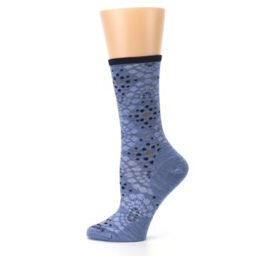 Image of Blue Navy Pompeii Dots Wool Women's Casual Socks (side-2-12)