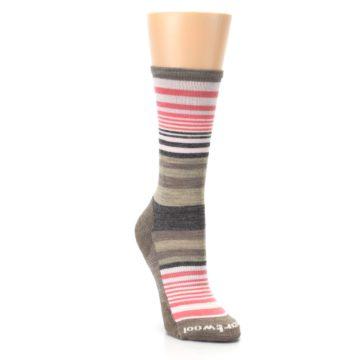 Image of Pink Tan Stripe Wool Women's Casual Socks (side-1-front-02)