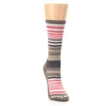 Image of Pink Tan Stripe Wool Women's Casual Socks (side-1-front-03)