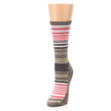 Image of Pink Tan Stripe Wool Women's Casual Socks (side-2-front-07)