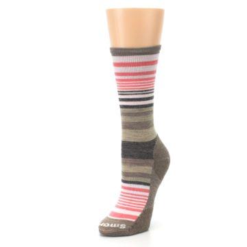 Image of Pink Tan Stripe Wool Women's Casual Socks (side-2-front-08)