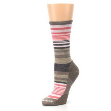Image of Pink Tan Stripe Wool Women's Casual Socks (side-2-09)