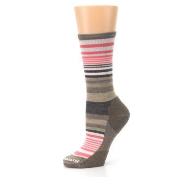 Image of Pink Tan Stripe Wool Women's Casual Socks (side-2-10)