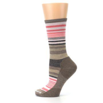 Image of Pink Tan Stripe Wool Women's Casual Socks (side-2-12)