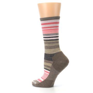 Image of Pink Tan Stripe Wool Women's Casual Socks (side-2-13)