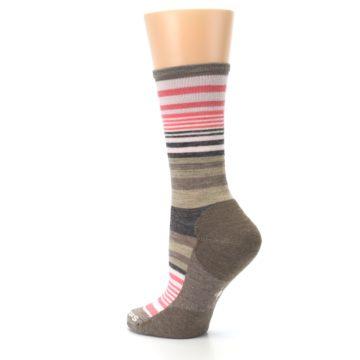 Image of Pink Tan Stripe Wool Women's Casual Socks (side-2-back-14)