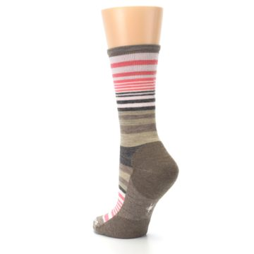 Image of Pink Tan Stripe Wool Women's Casual Socks (side-2-back-15)