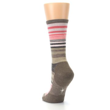 Image of Pink Tan Stripe Wool Women's Casual Socks (side-2-back-16)